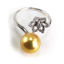 Bague or gris 18k perle gold diamants
